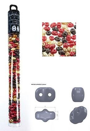www.snowfall-beads.be - Mix Superduo Tsjechische glas rocailles met 2 gaten 5x2,5mm (320 st.)