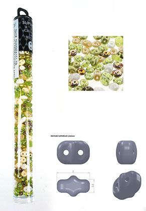 www.snowfall-beads.de - Mix Superduo Tschechisches Glas rocailles mit 2 Löcher 5x2,5mm (320 St.)