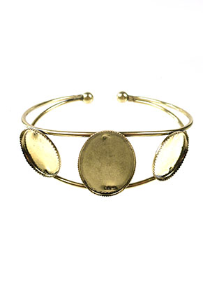 www.snowfall-beads.com - DoubleBeads metal cuff bracelet 18,5cm with settings for 25x18mm and 18mm flat backs