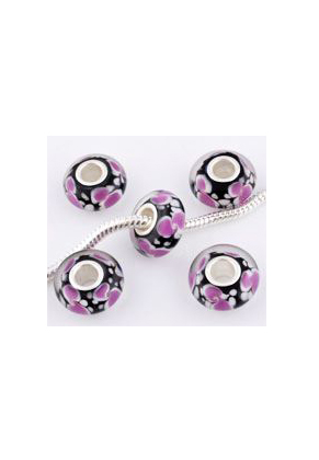 www.snowfall-beads.co.uk - Large-hole-style glass bead with 925 silver core roundel 14x7mm