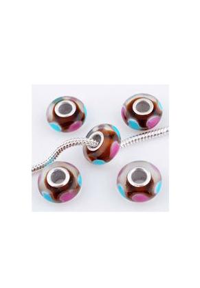 www.snowfall-beads.nl - Groot-gat-style glaskraal met 925 zilveren kern rondel 14x7mm