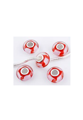 www.snowfall-beads.com - Large-hole-style glass bead with 925 silver core roundel 14x7mm