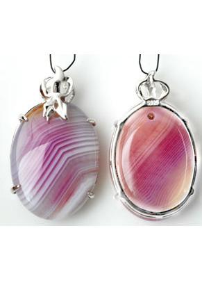 www.snowfall-beads.fr - Pendentif en 925 argent ovale avec pierre naturelle Agate 38x23mm