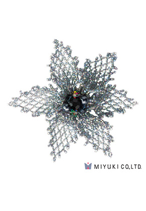 www.snowfall-beads.co.uk - Miyuki jewelry kit brooch BFK-103 Grace Brooch