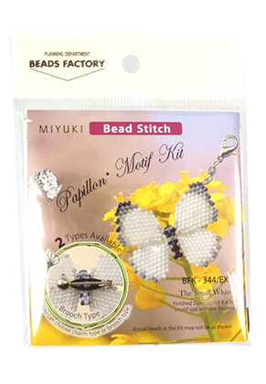 www.snowfall-beads.com - Miyuki jewelry kit brooch/charm butterfly Papillon Motif Kit BFK-344/EX The Small White