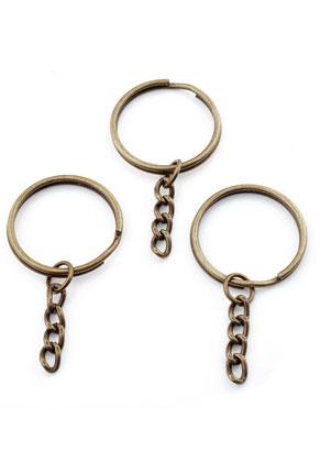 www.snowfall-beads.com - Metal key fob ring with chain 55x28mm