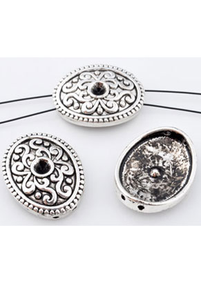 www.snowfall-beads.com - Metal dividers oval 22x17mm with setting for 4mm pointed back