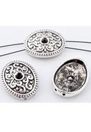 www.snowfall-beads.nl - Metalen verdelers ovaal 22x17mm met kastje voor 4mm similisteen - E00696