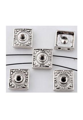 www.snowfall-beads.be - Metalen verdelers vierkant 10mm met kastje voor 3mm similisteen