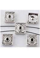 www.snowfall-beads.nl - Metalen verdelers vierkant 10mm met kastje voor 3mm similisteen - E00699