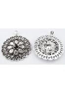 www.snowfall-perles.be - Pendentif en métal ronde 61x51mm avec cadres pour imitations de diamant et cabochon goutte - E00700