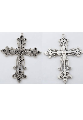 www.snowfall-beads.com - Metal pendant cross 94x72mm with settings for pointed backs