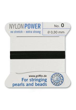 www.snowfall-beads.be - Griffin NylonPower parelzijde met naald No. 0, 0,3mm dik