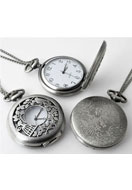 www.snowfall-beads.be - Metalen halsketting 75cm met klokje/horloge 64x47mm - E00809