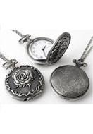 www.snowfall-fashion.co.uk - Metal necklace 75cm with clock/watch rose 56x40mm - E00813