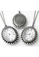www.snowfall-beads.co.uk - Metal necklace 75cm with clock/watch 50x36mm - E00815