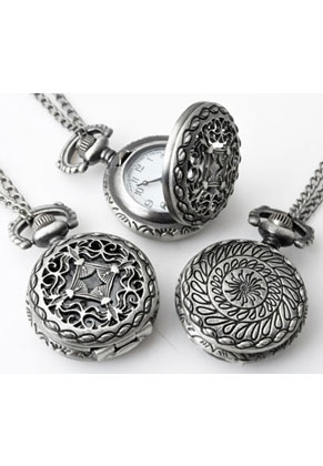 www.snowfall-beads.com - Metal necklace 75cm with clock/watch 41x27mm