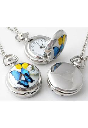 www.snowfall-fashion.de - Metall Halskette 77cm mit Uhr Keramik mit Schmetterlinge 43x29mm