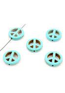 www.snowfall-beads.co.uk - Mix natural stone beads Turquoise Howlite peace sign 20mm - E01015