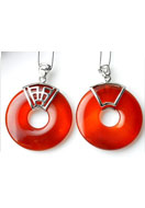 www.snowfall-beads.com - 925 Silver pendant with natural stone Red Agate flat round 47x35mm - E01043