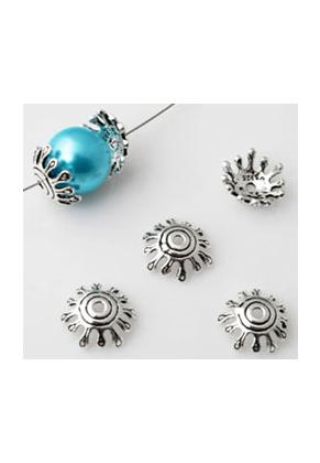 www.snowfall-beads.de - 925er Silber Perlen Käppchen 13x4mm