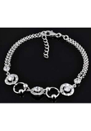 www.snowfall-beads.co.uk - 925 Silver bracelet with cubic zirconia 16,5-19cm - E01213