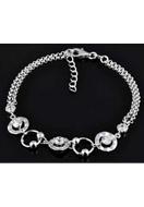 www.snowfall-beads.com - 925 Silver bracelet with cubic zirconia 16,5-19cm - E01213