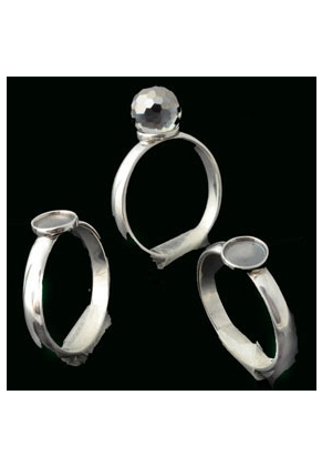 www.snowfall-beads.com - 925 Silver ring Ø 18mm with setting for 6mm flat back