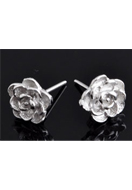 www.snowfall-beads.co.uk - 925 Silver ear studs rose 12x9mm - E01252
