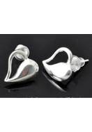 www.snowfall-beads.co.uk - 925 Silver ear studs heart 13x11mm - E01253