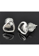 www.snowfall-beads.co.uk - 925 Silver ear studs heart 13x8x7mm - E01254