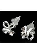www.snowfall-beads.co.uk - 925 Silver ear studs four-leaf clover 13x8mm - E01256