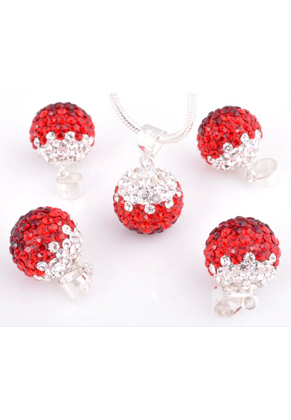 www.snowfall-beads.com - Polymer clay pendant with 925 silver eye and Swarovski ball 19x12mm