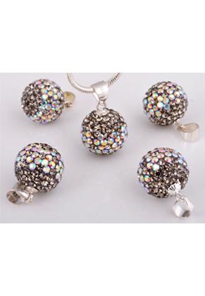 www.snowfall-beads.com - Polymer clay pendant with 925 silver eye and Swarovski, ball 19x12mm