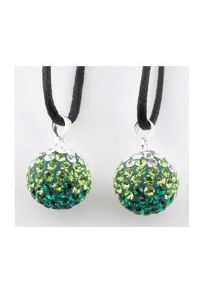 www.snowfall-beads.com - Polymer clay pendant with 925 silver eye and strass, ball 19x12mm