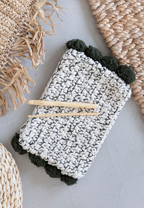 www.snowfall-beads.co.uk - Hoooked DIY Crochet kit Pompom clutch Santorini
