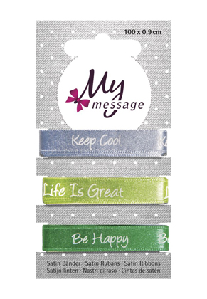www.snowfall-beads.com - Rayher My Message satin ribbons 9mm (3 x 1 meter)