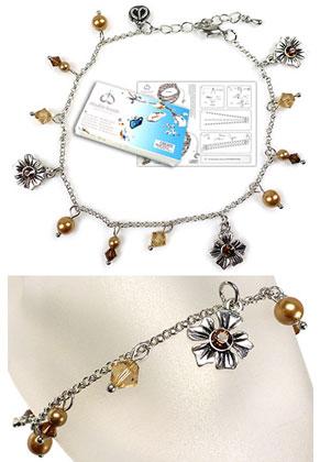 www.snowfall-beads.com - DoubleBeads Jewelry Kit Bloom ankle bracelet, inner size ± 24-29cm, with SWAROVSKI ELEMENTS