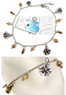 www.snowfall-beads.com - DoubleBeads Jewelry Kit Bloom ankle bracelet, inner size ± 24-29cm, with SWAROVSKI ELEMENTS - E01400