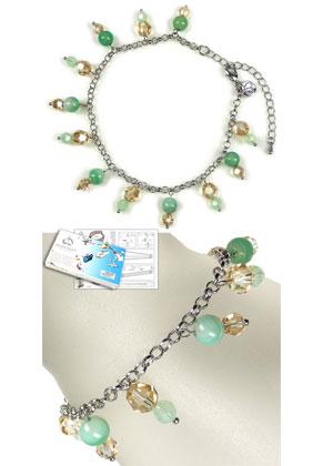 www.snowfall-beads.com - DoubleBeads Jewelry Kit Drops of Agate ankle bracelet, inner size ± 22-29cm, with SWAROVSKI ELEMENTS