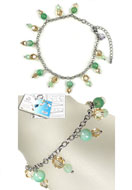 www.snowfall-beads.com - DoubleBeads Jewelry Kit Drops of Agate ankle bracelet, inner size ± 22-29cm, with SWAROVSKI ELEMENTS - E01402