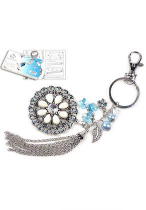 www.snowfall-beads.com - DoubleBeads Jewelry Kit Blue Lily key fob ± 19cm with SWAROVSKI ELEMENTS