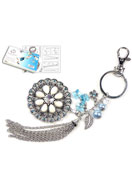 www.snowfall-beads.com - DoubleBeads Jewelry Kit Blue Lily key fob ± 19cm with SWAROVSKI ELEMENTS - E01403