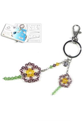 www.snowfall-beads.com - DoubleBeads Jewelry Kit Flower Power key fob ± 19cm with SWAROVSKI ELEMENTS