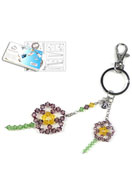 www.snowfall-beads.com - DoubleBeads Jewelry Kit Flower Power key fob ± 19cm with SWAROVSKI ELEMENTS - E01406
