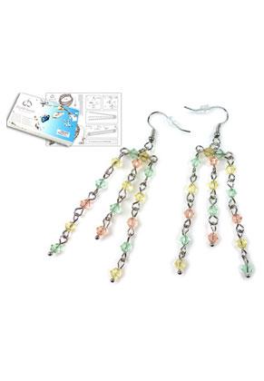www.snowfall-beads.com - DoubleBeads Jewelry Kit Tropical earrings ± 7cm with SWAROVSKI ELEMENTS