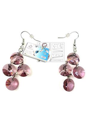 www.snowfall-beads.com - DoubleBeads Jewelry Kit Galaxy earrings ± 6cm with SWAROVSKI ELEMENTS