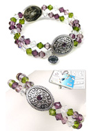 www.snowfall-beads.co.uk - DoubleBeads Jewelry Kit Medieval Treasure bracelet stretchable, inner size ± 18cm, with SWAROVSKI ELEMENTS - E01655
