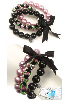 www.snowfall-beads.com - DoubleBeads Jewelry Kit Matching Marbles bracelet stretchable, inner size ± 18cm with SWAROVSKI ELEMENTS