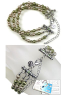 www.snowfall-beads.com - DoubleBeads Jewelry Kit Jungle Chic bracelet, inner size ± 21-29cm, with SWAROVSKI ELEMENTS - E01657